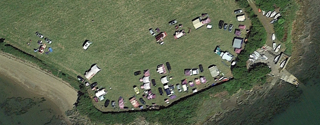 View from above, Cody Summer Holiday campsite in full sun.